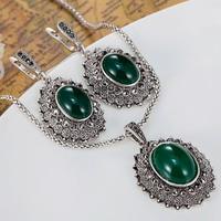 Thời trang của Phụ Nữ Trang Sức Vintage Thiết của Phụ Kiện Đám Cưới Thổ Nhĩ Kỳ Pendant Earring Trang Sức set Antique bạc Necklace