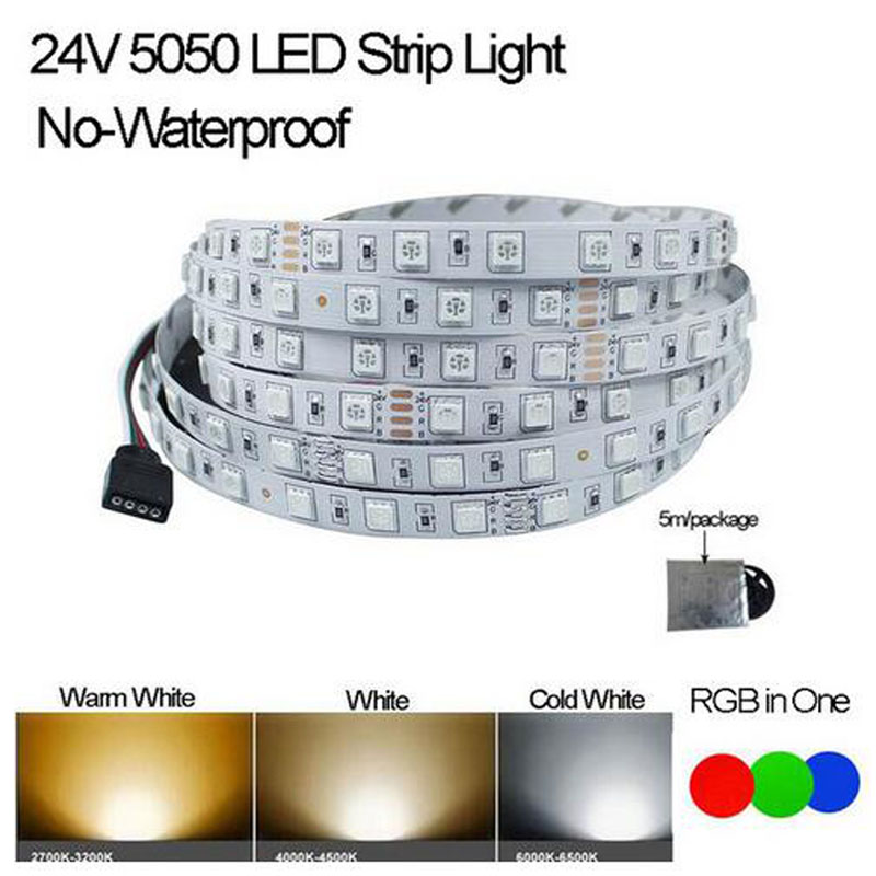 LED Strip 5050 DC24V LED Strip Flexible Light No-waterproof 60 Led/m,5m RGB LED Strip 5050,White/warm White/R/G/B