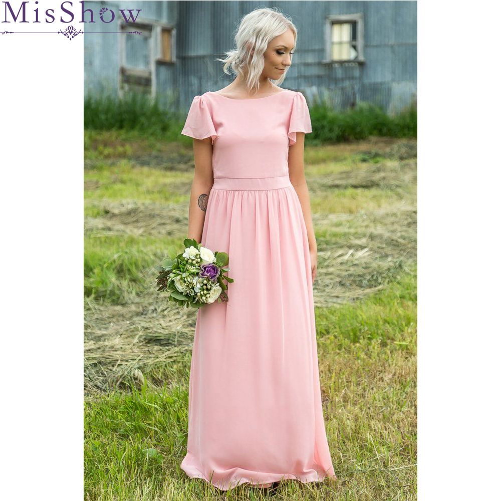 Misshow   Bridesmaid     Dresses   New Elegant Long A-line Boat Neck Chiffon Pink Blue Formal Party Gowns Bruidsmeisjes Jurk Women