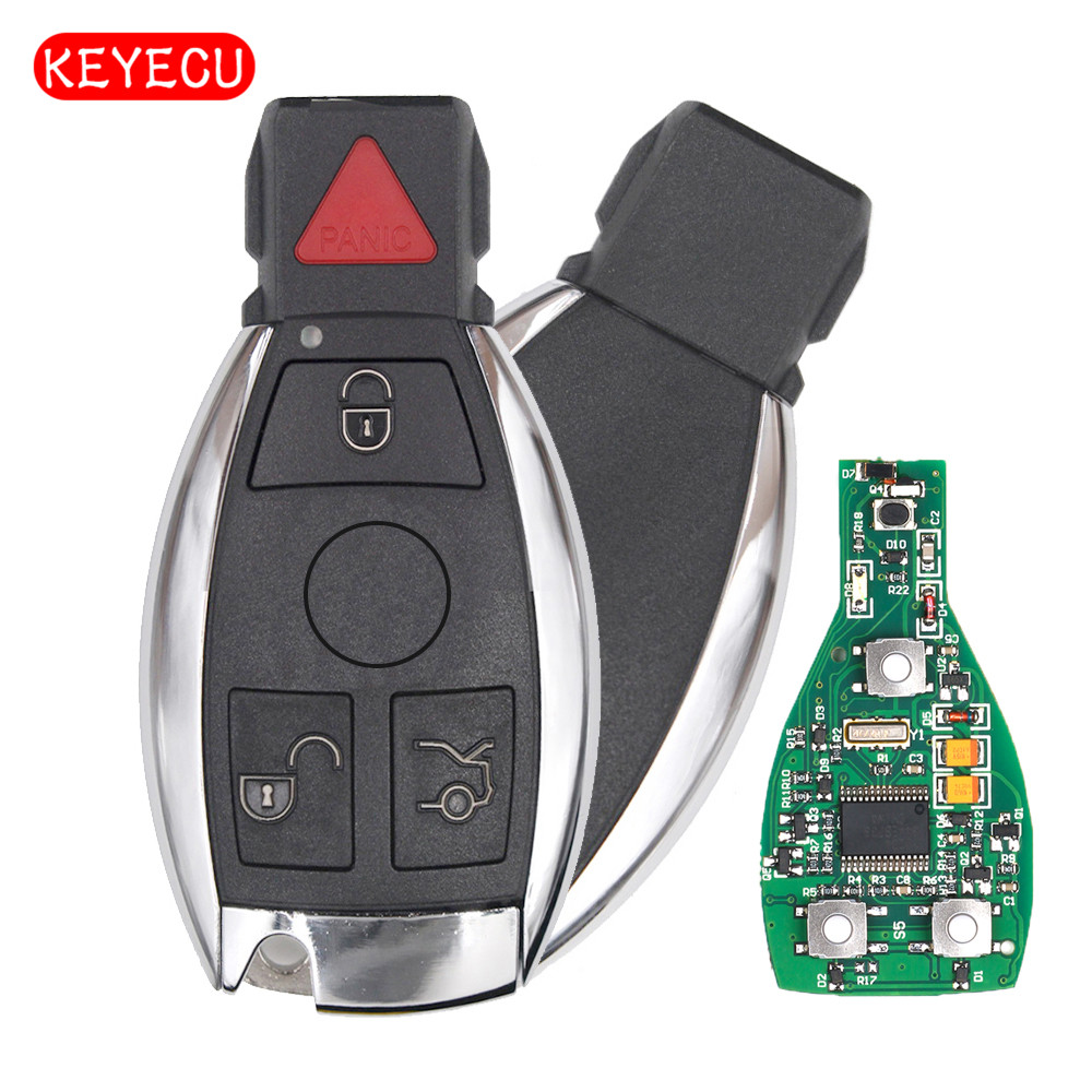 Keyecu Smart Key 4 Buttons 315MHz 433MHz for Mercedes Benz Auto Remote Key Support NEC And