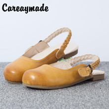 New 2016 Head layer cowhide pure handmade shoes,the retro art mori girl shoes,shallow mouth lacing retro shoes,Yellow&Brown