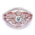 EDI Romantic Rose Flower Moissanite(D-F) Wedding Ring Lady 9K Rose Gold  Ring Round Lab Grown Diamond Ring For Women Jewelry