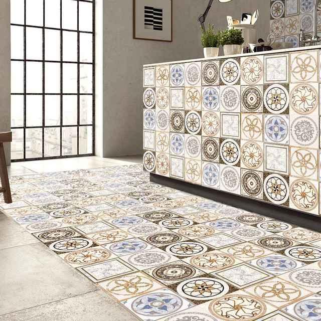 5m Ceramic Tile Printing Film Pvc Floor Contact Paper Covering Diy Self Adhensive Waterproof