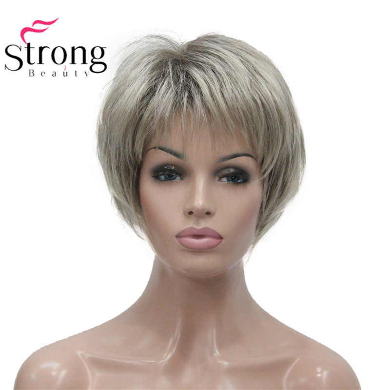 StrongBeauty Short Soft Layered Shag Ombre Blonde Full Synthetic Wig