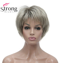 StrongBeauty peluca sintética, corta, suave, en capas, color rubio degradado