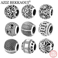 AZIZ BEKKAOUI Authentic 925 Sterling Silver Beads Fit Pandora Charms Bracelet Retro Black Basic Round Charms for Jewelry Making