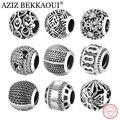AZIZ BEKKAOUI Authentic 925 Sterling Silver Beads Fit Pandora Encantos Pulseira Retro Preto Básico Rodada Encantos para Fazer Jóias