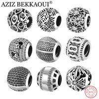 AZIZ BEKKAOUI Authentic 925 Sterling Silver Beads Fit Pandora Charms Bracelet Retro Black Basic Round Charms