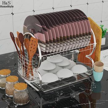 Estante de cocina de 2 niveles plato de acero inoxidable ahorrador de  espacio para el hogar escurridor de platos 0400b0320330
