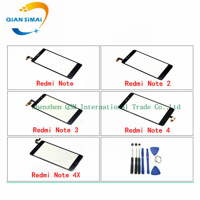QiAN SiMAi 1PCS New Touch Screen Digitizer glass & Screwdriver Tools Repair For Xiaomi Redmi Note 2 /Note 3 /Note 4 / Note 4X