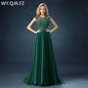 Image 1 - QQC292#Green long  bridesmaid dresses with short trailing tails wedding party dress 2019 gown prom Programme sponsor fashion