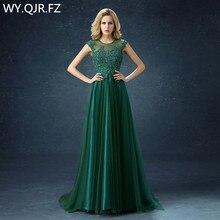 Длинное платье подружки невесты QQC292 #, зеленые свадебные вечерние платья с короткими шлейфом и хвостом, 2019