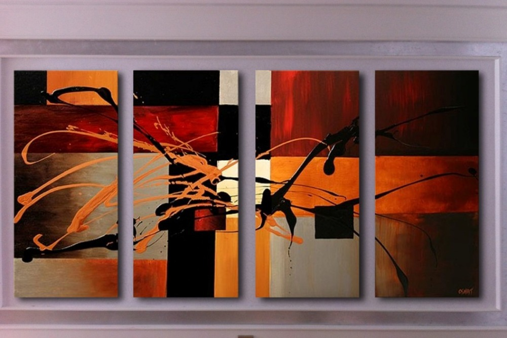 Free shipping 100 handpainted original abstract paintings for sale 4 panel fine picture for Home decor paintings for sale india
