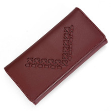 Female Wallet Leather Purse Women Card Holder Coins Purse Weave Vintage Designer Clutch Money Pocket Long Slim Wallet Trifold