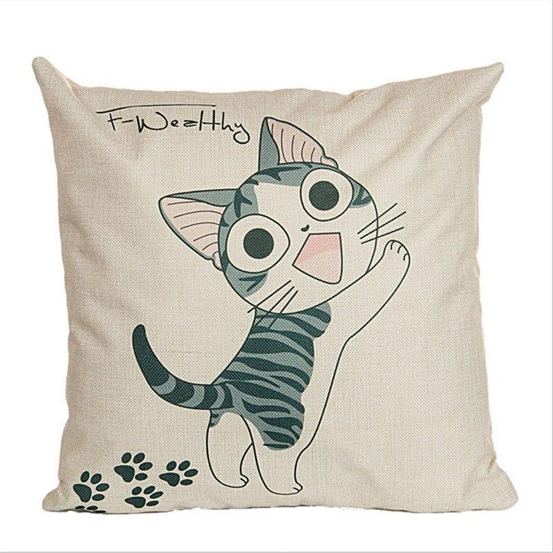 WL Candy L Cheese Cat Cotton Linen Pillows Decorative Cartoon Cushion Cover Baby Room Home Decor Throw Pillow Almofada