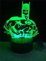 Fashion Speciale Batman 7 Kleur Veranderende Verbazingwekkende 3D Illusie Optische LED Bureau Nachtlampje Slaapkamer woonkamer Home Deco Verlichting