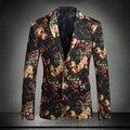2016 Необычные Костюмы Мужские Цветочные Курение Куртки Пиджаки Ternos Masculino Slim Fit Цветок Платье Роскошный Королевский Ужин Клуб Наряды