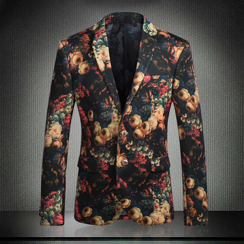 2016 Fancy Suits For Mens Floral Smoking Jackets Blazers Masculino Slim Fit Flower Dress Luxury Royal Ternos Dinner Club Outfits