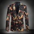 2016 Trajes Para Hombre Floral de Lujo de Fumar Chaquetas Blazers Masculino Slim Fit Vestido de la Flor de Lujo Royal Ternos Trajes Del Club de La Cena