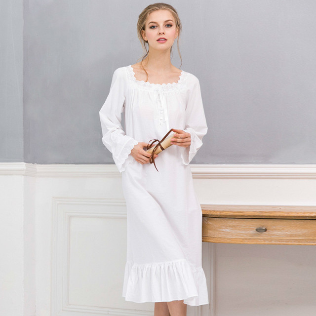 Fast Ship New Arrivals Vintage Nightgowns Sleepshirts Elegant Home Dress Lace  Sleepwear Women Sleep Lounge Soft Cotton Nightgown a7e71b91c