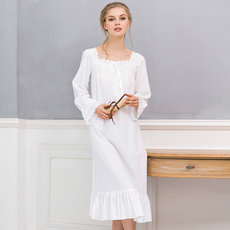 Fast Ship New Arrivals Vintage   Nightgowns     Sleepshirts   Elegant Home Dress Lace Sleepwear Women Sleep Lounge Soft Cotton   Nightgown