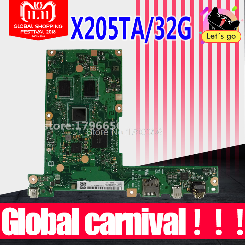 original X205TA X205TAW 2G/Z3735F/32G/AS laptop motherboard for ASUS X205T X205TA with processor tested laptop Motherboard