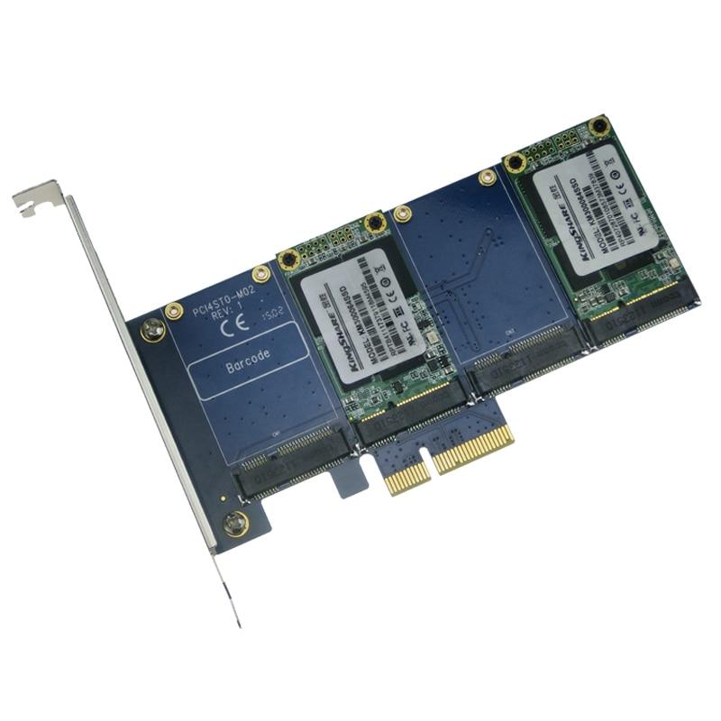 ФОТО 4 mSATA SSD PCIe Hybrid Card RAID0 RAID1 RAID10 Marvell HyperDuo Quad mini SATA to PCI-e flash solutions accelerates databases