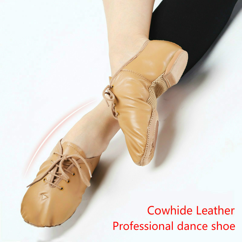2018 High Quality Childrens Dance Practise Shoes Cowhide Breathable Split Sole Jazz Shoe Ballet Dancing Sneakers For Boys Girls