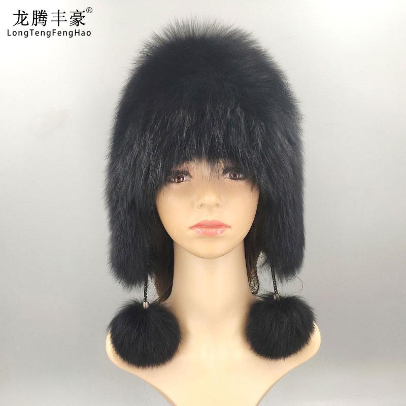 Hot Sale Natural Silver Fox Fur Hat Women Winter Knitted Cap Women Hat Fox Fur Bomber Hat Female Ear Warm Winter Must