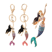 New Creative 3 Colors  Mermaid Beauty Fish Pendent Charm Rhinestone Crystal Purse Bag Keychain Gif 11cm* 3cm