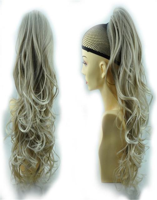 """24 """" и 160 г волос коготь конский хвост расширение длинные и объемные завитые волнистые - сопротивление div. Цвета грейс светло-русый 16T613"""