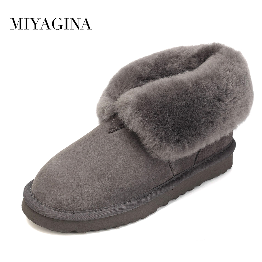 Top Quality 2018 Winter New Fashion Genuine sheepskin leather Snow Boots 100% Natural fur Women Boots Real Wool Boots For Women free shipping classic natural fur real wool genuine sheepskin leather snow boots for women winter shoes high quality page 2