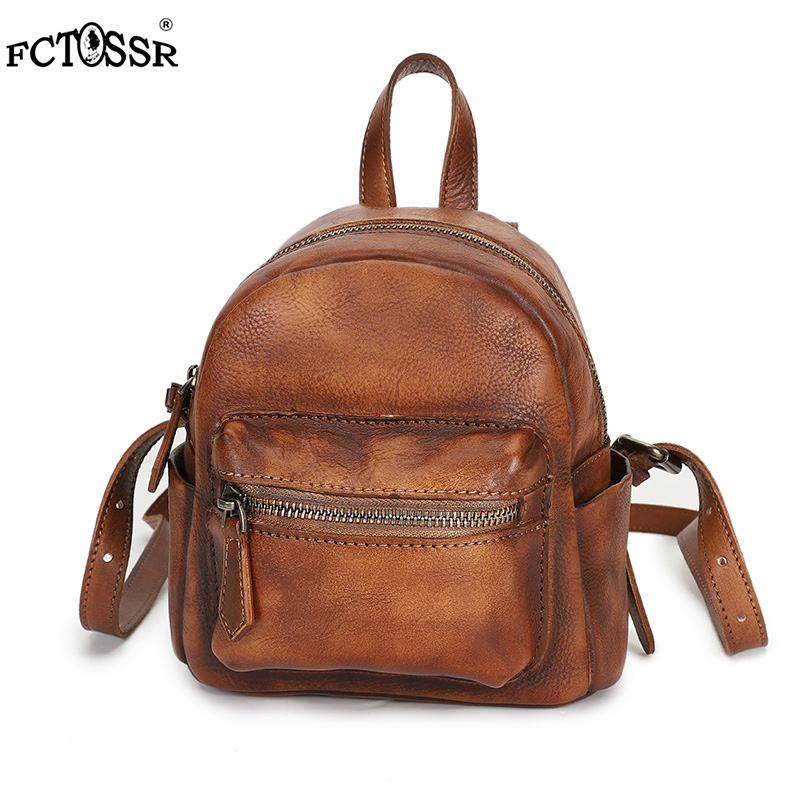 2019 New Fashion Original Design Handmade Leather Women Backpack Vintage Printing Female Shoulder Bag Preppy Daily Girl Bag - 4
