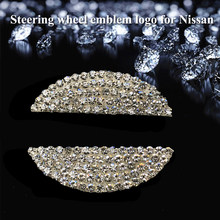 Car Stickers Steering Wheel Emblem Logo Rhinestone Badge Decals Car styling for Nissan Mazda Honda Toyota Corolla Camry(China)