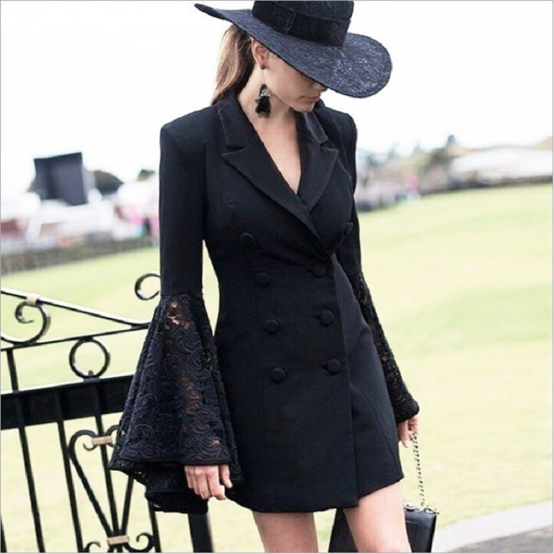 Zjyt Lace Bell Flare Sleeve Blazer Women Hollow Out V Neck Double Breadsted Suit Collar Tunic Plus Size Coat Female Autumn