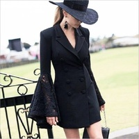 ZJYT 2018 Lace Bell Flare Sleeve Blazer Women Hollow Out V Neck Double Breadsted Suit Collar Tunic Plus Size Coat Female Autumn