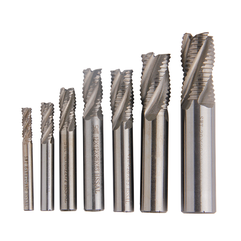 1pc 4-Flute Roughing Carbide Milling Cutter HSS End Mill Spiral Router Bit Diameter 6mm-20mm Straight Shank CNC Tools