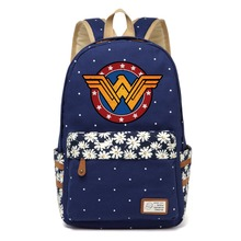 4c1b66715f WISHOT Wonder Woman borsa di Tela carino FlowerRucksacks zaino delle  Ragazze Delle donne I Bambini Borsa da viaggio