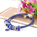 Summer Style bule Genuine Leather Bracelet beads Chain Fit For Charms Bracelets DIY Metal Alloy Glass European Big Hole Beads 03