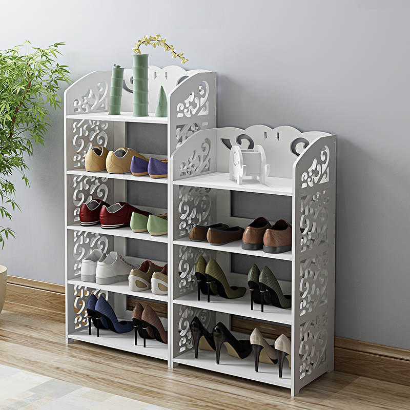 Household European Hollow Living Room Shoe Rack Dust Rack Fashion Multi-layer Assembly Shoe Door White Variety Storage Shelf