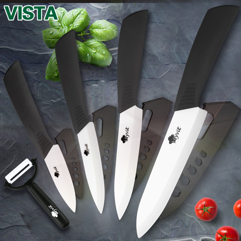 Ceramic Knives Kitchen knives 3 4 5 6 inch Chef knife Cook Set+peeler white zirconia blade Multi-color Handle High Quality 1
