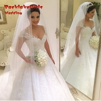 Lace Deep V Neck Ball Gown Wedding Dresses Vintage Robe De Mariage Beaded Luxury Wedding Gowns