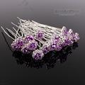 60PCS Wedding Accessories Bridal LG Purple Rose Hairpins Flower Crystal Rhinestone Hair Pins Clips Bridesmaid Women Hair Jewelry