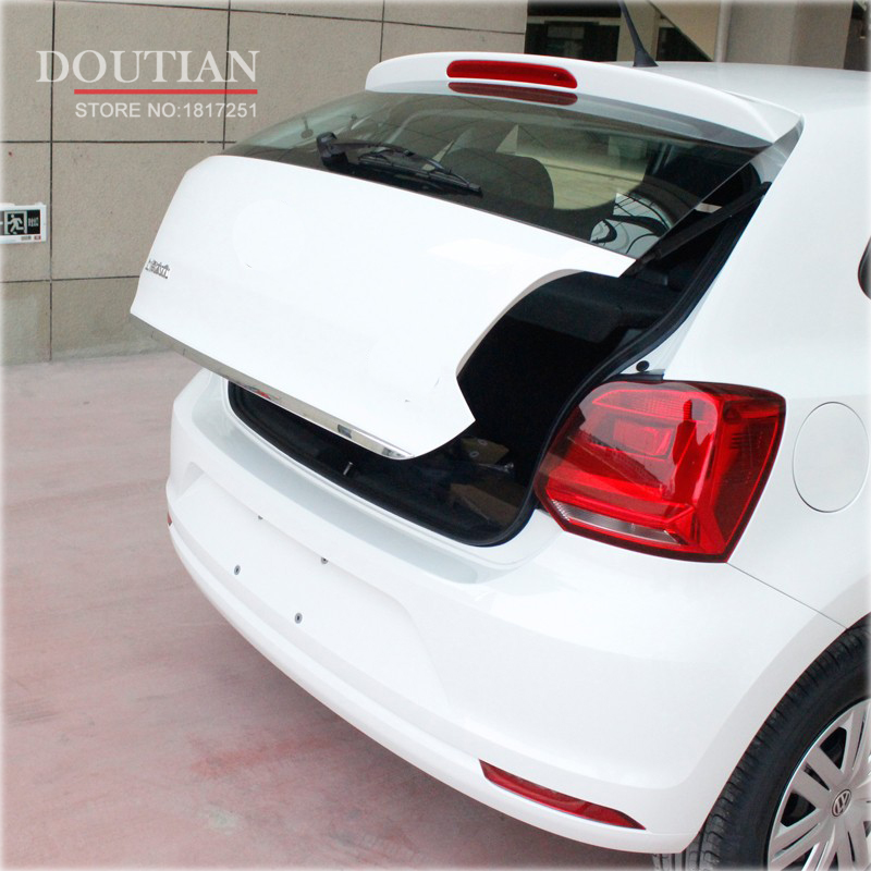 For Vw Polo 2011 2012 2013 2014 2015 2016 Stern Door Sticker Stainless Steel Back Door Trim Car Styling Accessories