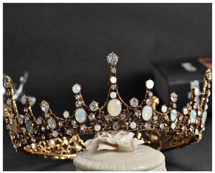 DIEZI Baroque Vintage Crystal Wedding Bridal Tiaras Hairband Headpiece Black Princess Pageant Crown Bridal Hair Accessories