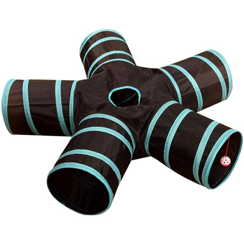 Foldable Pet Cat Tunnel Cute Blue Stripe Style Polyester Cloth Cat Toys Kitten Play And Rest Product Four And Five Channels image