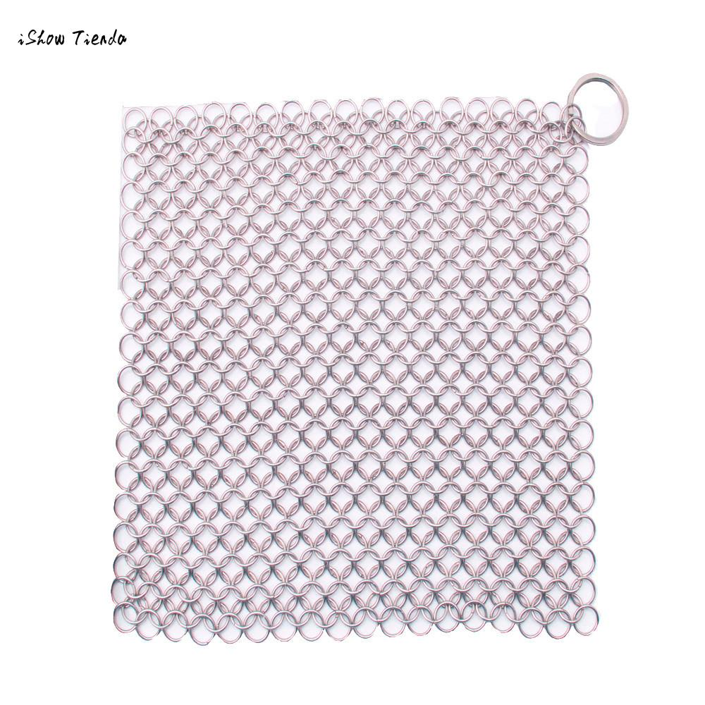 ISHOWTIENDA New 1pc Finger Iron Cleaner Stainless Steel Chainmail Scrubber Stainless Steel Chainmail Scrubber