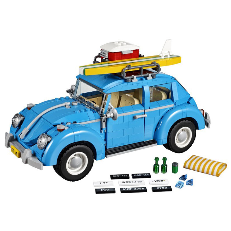 LEPIN 21003 Genuine Techicc Series City Car Volkswagen Beetle Model Building Blocks Compatible With Lego Toy 10252 2018 lepin 21003 technic series city car beetle model educational building blocks compatible legoing 10252 toy as children gift