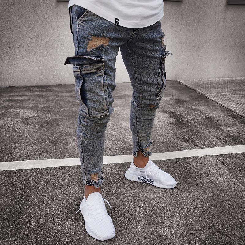 Мужские джинсовые брюки карго, джинсы с боковыми карманами Карго, обтягивающие джинсы, мужские облегающие длинные брюки - Цвет: 1