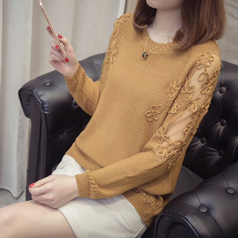 2018 new spring Lady pullover sweater short sleeve head embroidery lace shirt sleeved loose knit sweater female hollow